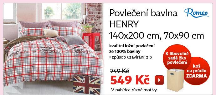 Povlečení bavlna HENRY 140x200 cm, 70x90 cm