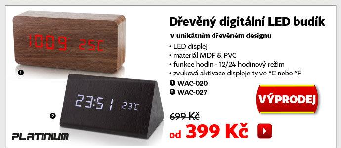 Dřevěný digitální LED budík Platinum